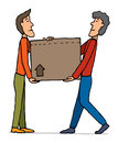 Teamwork moving carrying box guys Royalty Free Stock Images