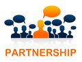 Teamwork partnership means working together and cooperation showing combined Stock Photos