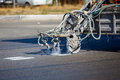 Teamwork pavement asphalt road marking paint and striping with thermoplastic spray applicator machine during highway construction Stock Image