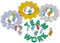 Teamwork people join in gears team up to and work together technology company or group Royalty Free Stock Photography