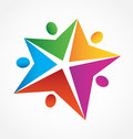 Teamwork people star shape logo