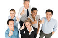 Teamwork showing thumb up group of happy multi ethnic businesspeople Stock Image