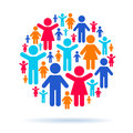 Teamwork and social interaction pictogram people in a circle Royalty Free Stock Photos
