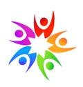 Teamwork star shape people logo