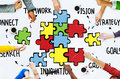 Teamwork team connection strategy partnership support puzzle con concept Stock Photos
