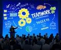 Teamwork team together collaboration business seminar concept presentation Stock Images