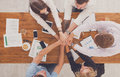 Teamwork and teambuilding concept in office, people connect hand Royalty Free Stock Photo