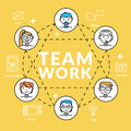 Teamwork. Vector illustration concepts of team community with profile icons