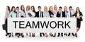 Teamwork word on banner Royalty Free Stock Photo