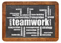 Teamwork word cloud on a vintage blackboard isolated on white Royalty Free Stock Image