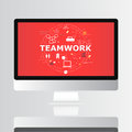 Teamwork word with icon on computer screen illustration