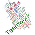 Teamwork wordcloud Stock Photos