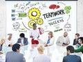 Teamworkteam together collaboration business people möte Arkivbilder