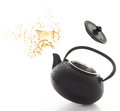 Teapot black with tea splash isolated on white background Royalty Free Stock Photography