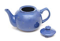 Teapot blue on white background Stock Photos
