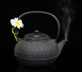 Teapot with chamomile flower and smoke isolated on black Royalty Free Stock Photo