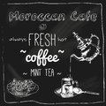 Teapot and cup moroccan cafe blackboard Royalty Free Stock Photo
