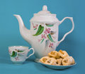 Teapot and cup saucer cookies Royalty Free Stock Photo