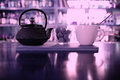 Teapot and cup of tea at  cafe Royalty Free Stock Photo