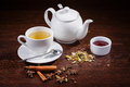 Teapot and a cup of tea Royalty Free Stock Photo