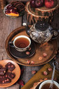 Teapot and cup of tea in retro vintage style Royalty Free Stock Photo