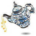 Teapot with floral gzhel design elements vector illustration Stock Photo