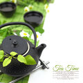 Teapot with fresh herbs green flowers cups and copy space Royalty Free Stock Photos