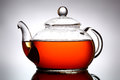 Teapot glass on gray background Royalty Free Stock Photo