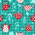 Teapot on the green seamless pattern Royalty Free Stock Images