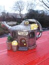 Teapot house ornament red wooden table scenic