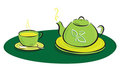 Teapot with leaves symbols and cup illustration Stock Images
