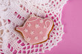 Teapot pink biscuit on background Royalty Free Stock Images