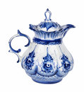 Teapot porcelain painted under gzhel with the traditional pattern isolated on white background Royalty Free Stock Photo