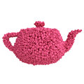 Teapot of raspberries on white background Royalty Free Stock Photos