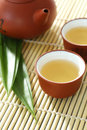 Teapot,tea cup and pandan leaves Stock Photography