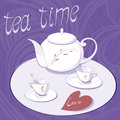 Teapot and two cups tea time afternoon tea with a white Stock Images