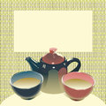 Teapot with two teabowls illustration vector eps version include of tea bowls on matting background have a place for text no mesh Stock Photos