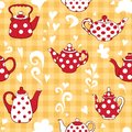 Teapot on the yellow vector seamless pattern Stock Image
