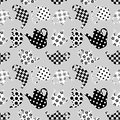 Teapots black and white patchwork seamless pattern vector background Stock Image