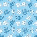 Teapots blue patchwork seamless pattern vector background Royalty Free Stock Photo