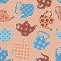 Teapots patchwork seamless pattern vector background Stock Photos