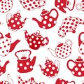 Teapots red and white seamless pattern patchwork vector background Stock Image