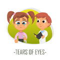 Tear of eyes medical concept. Vector illustration.