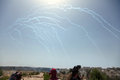 Tear gas in the sky palestinian demonstration separation wall bil palestine may th canniesters mid air on way to protest taking Royalty Free Stock Images