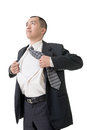 Tearing his shirt asian busines man off closeup portrait Royalty Free Stock Images