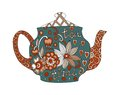 Teatime. Beautiful teapot with floral ornament isolated on white