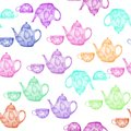 Teatime collection. Seamless pattern with colorful teapots and cups