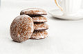 Teatime gingerbreads and cup of tea Royalty Free Stock Images