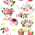 Teatime pattern: flowers, teacup, cake, teapot. Watercolor. Seamless background Royalty Free Stock Photo