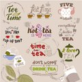 Teatime quote set vector lettering hand drawn cup of tea vintage print typography poster design teapot